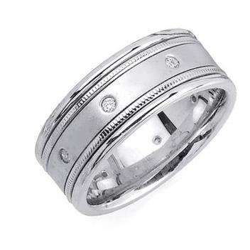 8.5mm Mens White Gold Diamond Wedding Bands WB46_2542