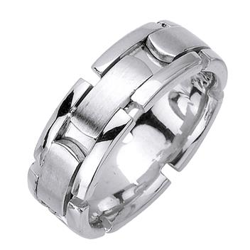 Handcrafted Mens Wedding Band in 18K White Gold 8.0mm WB1066