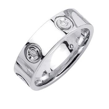 6.5mm Mens White Gold Diamond Wedding Bands WB53_2642