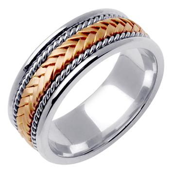 Hand Braided Men's Wedding Band Two Tone in 18K Rose and White Gold 8.0mm WB1019