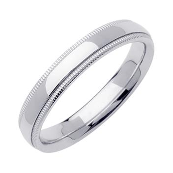 Comfort Fit Beaded Milgrain Mens Wedding Band in Platinum 4.0mm WB1241