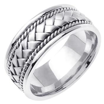 Hand Braided Mens Wedding Band in 18K White Gold 8.5mm WB1005