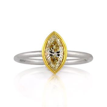 1.01ct Fancy Light Yellow Marquise Cut Diamond Engagement Anniversary Ring 3072-1D1708685