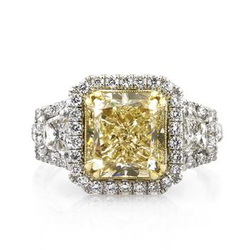 5.21ct Fancy Yellow Radiant Cut Diamond Engagement Anniversary Ring 2902-1D15185357