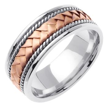 Hand Braided Mens Wedding Band Two Tone in 18K Rose and White Gold 8.5mm wb1003