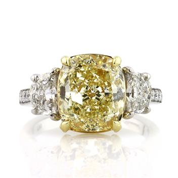 6.37ct Fancy Yellow Cushion Cut Diamond Engagement Anniversary Ring 2854-1D56355254