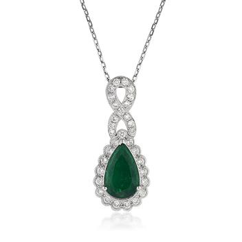 2.21ct Pear Shaped Emerald and Diamond Pendant 3182-1D2549848