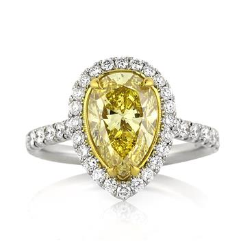 3.65ct Fancy Intense Yellow Pear Shaped Diamond Engagement Anniversary Ring 3248-1D31105866