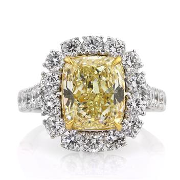 5.50ct Fancy Yellow Cushion Cut Diamond Engagement Anniversary Ring 2812-1D37951754