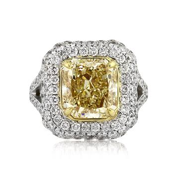 6.17ct Fancy Yellow Radiant Cut Diamond Engagement Anniversary Ring 3114-1D33003385