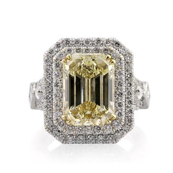 7.37ct Fancy Brownish Yellow Emerald Cut Diamond Engagement Anniversary Ring 2402-1D58858855