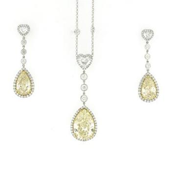 23.49ct Fancy Yellow Pear Diamond Earrings & Pendant Set 2622-1D24860104_1804_545_PLAT