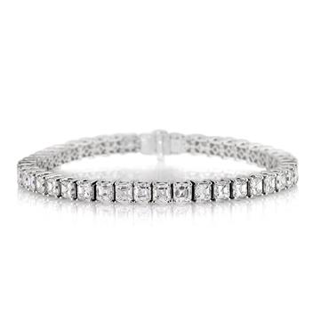 12.95ct Asscher Cut Diamond Tennis Bracelet 3024-1D17767285