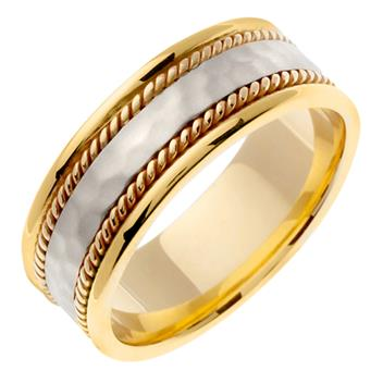 Handmade Two Tone Hammered Finish Mens Wedding Band in 18K Yellow and White Gold 8.0mm WB1101