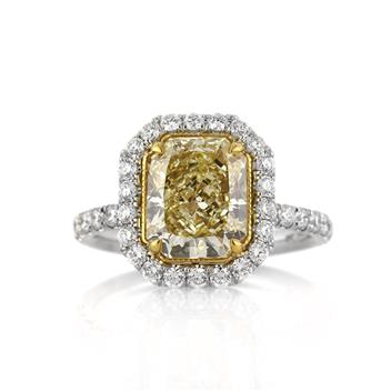 4.17ct Fancy Yellow Radiant Cut Diamond Engagement Anniversary Ring 3241-1D27493488