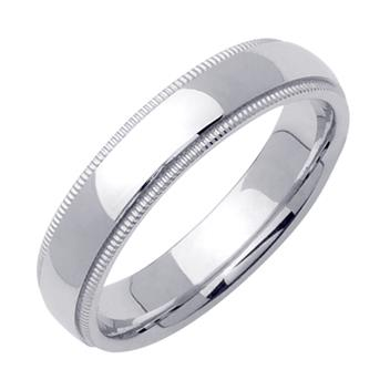 Comfort Fit Beaded Milgrain Mens Wedding Band in Platinum 5.0mm WB1244