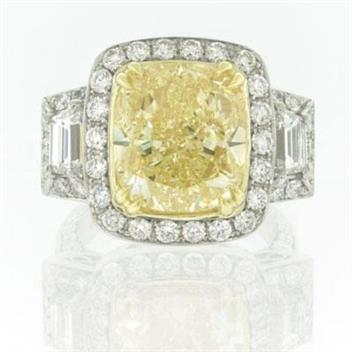 12.68ct Fancy Yellow Cushion Cut Diamond Engagement Anniversary Ring 2299-1D95865280