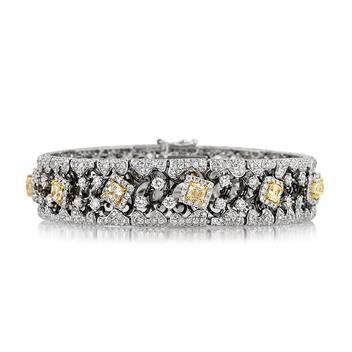 9.76ct Fancy Yellow Radiant and Round Brilliant Cut Diamond Bracelet 3111-1D13053743