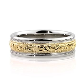 7mm Hand Engraved Handmade Two Tone Wedding Band in 14K Gold WB1272