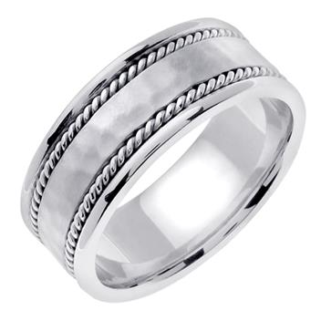 Handmade Hammered Finish Mens Wedding Band in Platinum 8.0mm WB1104