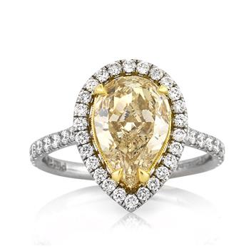 3.28ct Fancy Yellow Pear Shaped Diamond Engagement Anniversary Ring 3159-1D11709548