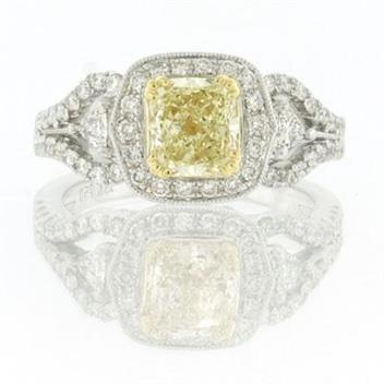 2.16ct Fancy Yellow Cushion Cut Diamond Engagement Anniversary Ring 2679-1D3863211