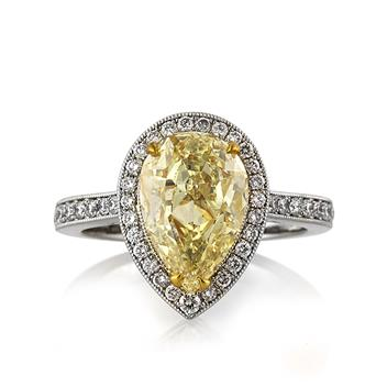 3.58ct Fancy Light Yellow Pear Shaped Diamond Engagement Anniversary Ring 3235-1D20119765