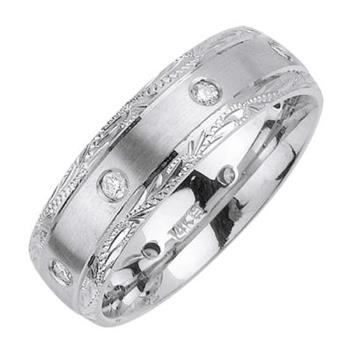 7mm Mens White Gold Diamond Wedding Bands WB40_2333