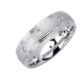6mm Mens White Gold Diamond Wedding Bands WB50_2637
