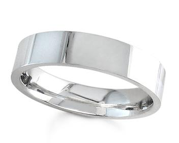 Comfort Fit Top Flat Mens Wedding Band in 14K White Gold 5.0mm WB1263