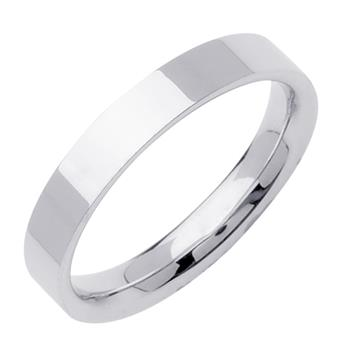 Comfort Fit Top Flat Mens Wedding Band in 18K White Gold 5.0mm WB1266