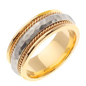 Handmade Two Tone Hammered Finish Mens Wedding Band in 18K Yellow and White Gold 7.5mm WB1106