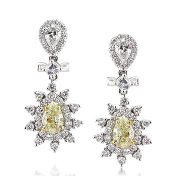 2.70ct Fancy Yellow Pear Shape Diamond Earrings 2851-1D3641811