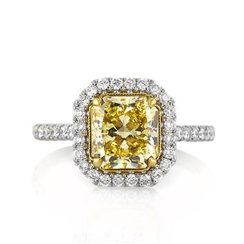 3.15ct Fancy Intense Yellow Radiant Cut Diamond Engagement Anniversary Ring 3243-1D27657368