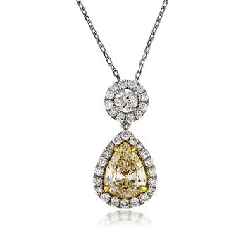 3.04ct Fancy Light Yellow Pear Shaped Diamond Pendant 3216-1D8782485