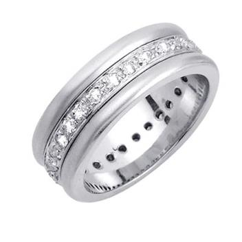 8mm Temp White Gold Diamond Wedding Bands WB49_2630