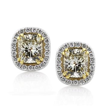 4.22ct Fancy Light Yellow Cushion Cut Diamond Stud Earrings 2852-1D17231533