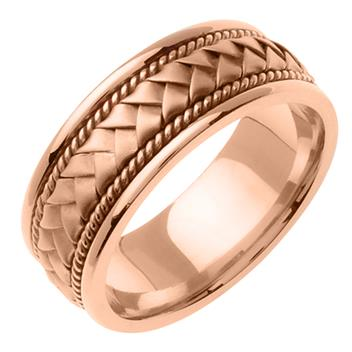 Hand Braided Mens Wedding Band in 14K Rose Gold 8.5mm WB1001