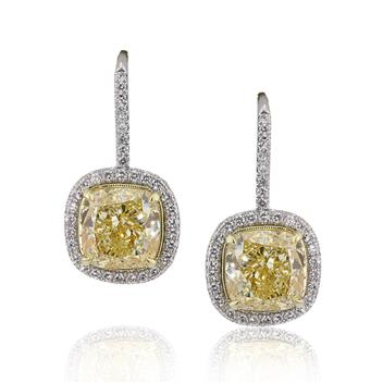 8.72ct Fancy Yellow Cushion Cut Diamond Stud Earrings 2846-1D80873177