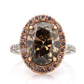 6.31ct Fancy Dark Orange Brown Oval Cut Diamond Engagement Ring 2919-1D27501454