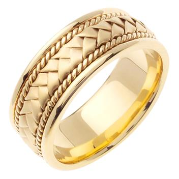 Hand Braided Mens Wedding Band in 14K Yellow Gold 8.5mm WB1037