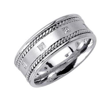8.5mm Mens White Gold Diamond Wedding Bands WB47_2543