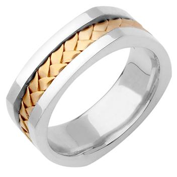 Hand Braided Mens Wedding Band Two Tone in 14K White and Yellow Gold 7.5mm WB1032