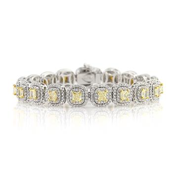 7.85ct Fancy Yellow Radiant Cut Diamond Link Bracelet 3021-1D11487254
