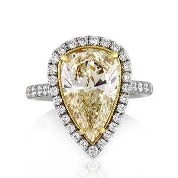 5.08ct Fancy Yellow Pear Shaped Diamond Engagement Anniversary Ring 3112-1D3080785