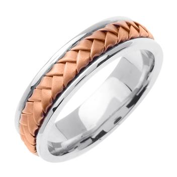Hand Braided Men's Wedding Band Two Tone in 18K Rose and White Gold 7.0mm WB1021