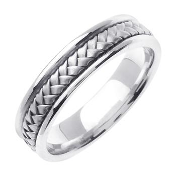 Hand Braided Mens Wedding Band in 14K White Gold 5.5mm WB1035