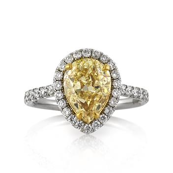 3.16ct Fancy Yellow Pear Shaped Diamond Engagement Anniversary Ring 3234-1D12837885