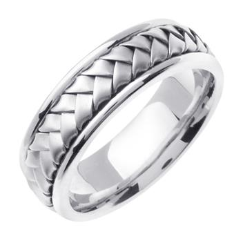 Hand Braided Mens Wedding Band in 14K White Gold 7.0mm WB1024