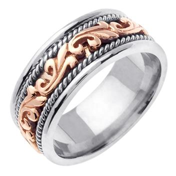 Handmade Two Tone in 18K Rose and White Gold 9.0mm WB1040